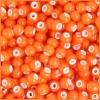 Glass Bead White Hearts 2/0 Orange